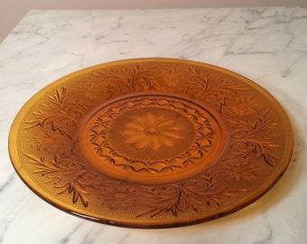 Vintage Amber Glass Dinner Plate