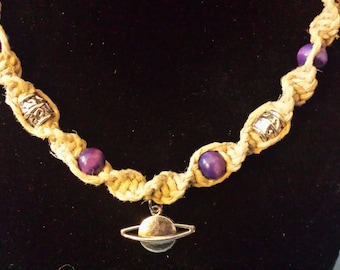 Hemp planet necklace with purple and silver beads
