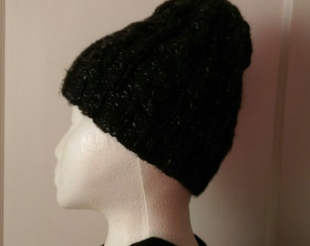 Charcoal Black Speckled cable knitted beanie