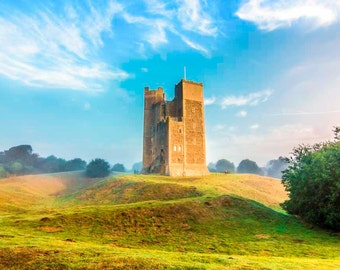 A Summers Morning at Orford Castle. A fine art photographic print of the castle keep at Orford in Suffolk early one fine summers morning