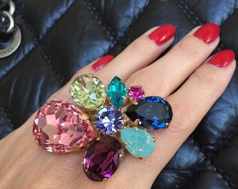One of a Kind Statement Ring with Multicolor Austrian Swarovski Crystals. Gold Plated and Adjustable.