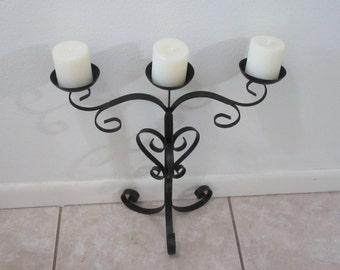 Vintage Black Gothic Metal Candelabra That Holds 3 Pillar Candles