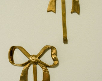 Two Vintage Brass Bow Hooks - Bow Hangers