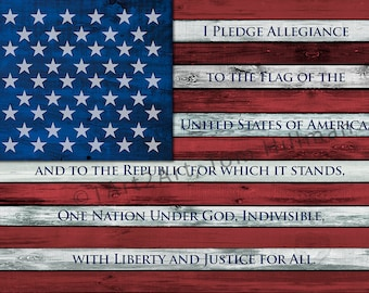 American Flag Art, I Pledge Allegiance to the Flag, Patriotic, Distressed Wood Look, Canvas Print