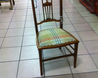 Cute Edwardian inlay chair with newly updated seat