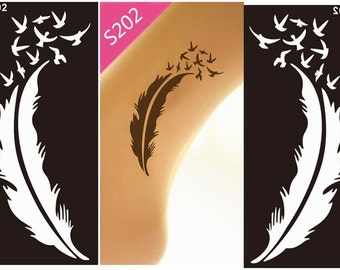 Feathers Stencils for Henna and Glitter temporary tattoo body art