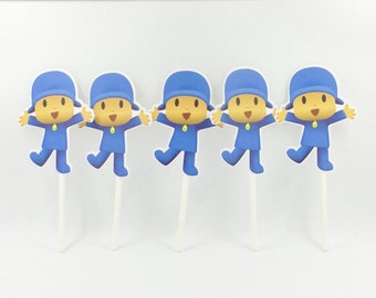Pack of 5 Pocoyo Cupcake Toppers, Pocoyo Party, Baby Party, Pocoyo Party Ideas, Pocoyo Party Decor, Pocoyo Toppers, Baby Party Ideas.