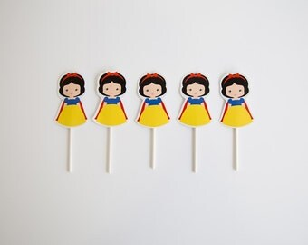 Pack of 5 Adorable Little Snow White Cupcake Toppers, Little Snow White Party Decor, Princess Birthday Party Decor. Little Snow White Party.
