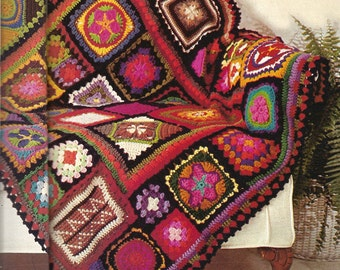 Crochet Pattern For Granny Square Sampler Afghan - PDF Instant Pattern Download - Great Mosaic Blanket, Kaleidoscope Throw, Vintage 1970's