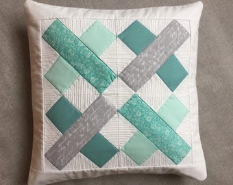 Mint quilted pillow - modern mint pillow - quilted pillow cover - pillow with cross - patchwork pillow