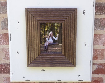Large, rustic 5x7 picture frame in white and stained dark walnut.
