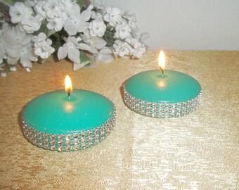 Set of 3 - Aqua Floating Candle with Surrounding Rhinestones