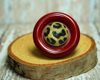 Deep Red and Leopard Button Ring