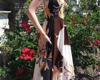 Clearance Vintage summer dress flowers gold and brown