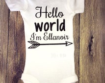 Newborn onesie, custom newborn onesie, hello world onesie, baby girl onesie, onesie with glittet and name, girls hello world black glitter