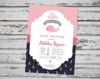 Pink Whale Nautical Marine Baby Shower Invitation, Pink Whale Baby Shower, Pink Marine Invite Printable