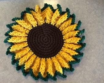 Crochet Sunflower Hot Pot Pad/ Sunflower Wall Decorator