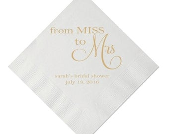 From Miss to Mrs Personalized Bridal Shower / Engagement Party Napkins