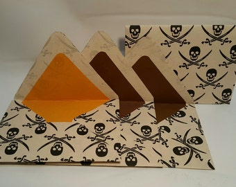 Handmade Pirate-Themed Envelopes (Set Of 4)