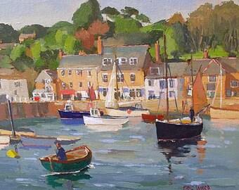 Eric Ward Original Oil Painting - Harbour Scene At Padstow Cornwall