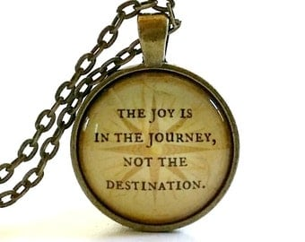 The Joy is in the Journey Not the Destination | Glass Necklace | Pendant | Key Ring | Quote | Compass | Travel |  Vacation | Trip | Journey