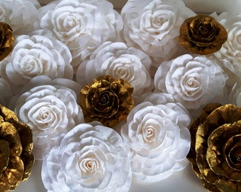 6 large crepe Paper Flowers Giant flowers spade kate wedding backdrop Paper wall arch Gold Glitter great gatsby nursery decor baby shower