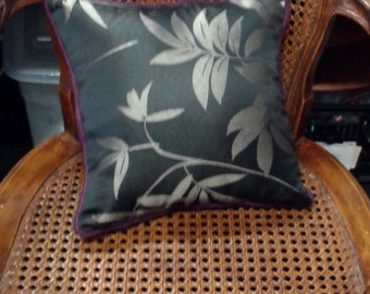 silver leaf cushion, silver leaf pillow