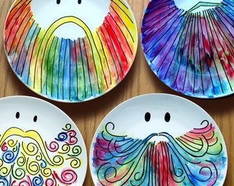 Set of hand painted porcelain dinner plates - Meet the Flavour Savers