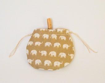 elephant coin purse, cotton purse, small bag, cotton bag, yellow change bag