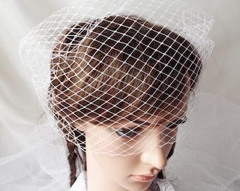 Bandeau Birdcage Wedding Veil Full Side Blusher Simple Cage Veil  White Bridal Veil Mini Bird Cage Veil Bridal Hair Accessory Short Veil