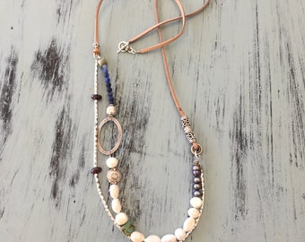 41N Sundance inspired necklace freshwater pearls sterling silver and leather, garnet, blue spot stone, elegant, handmade, cottage, boho,