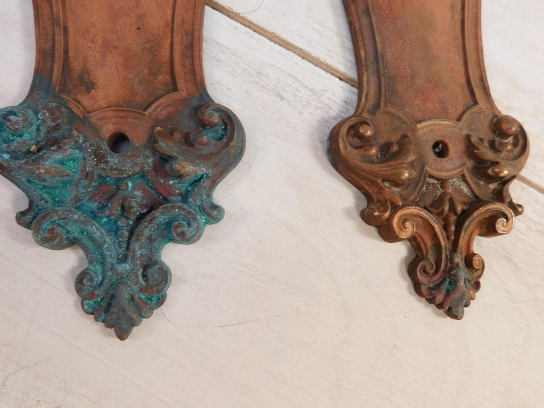 Antique Y Amp T Copper Brass Door Push Plates Swinging