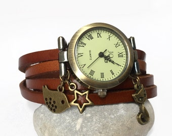 watch on wrist wrap for women, ladies watch, charm bird bronze cat,wrap Around Watch ,watch women,brown Leather Wrap Watch