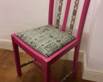 Pink and grey painted and upholstered bedroom chair