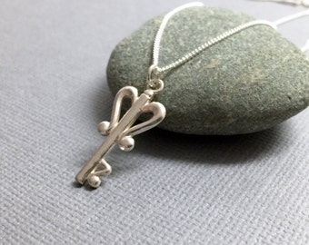 Sterling Silver Key Necklace, Skeleton Key Pendant Necklace, Handmade Sterling Silver Jewelry, Heart Key Necklace, Bridesmaid Gift