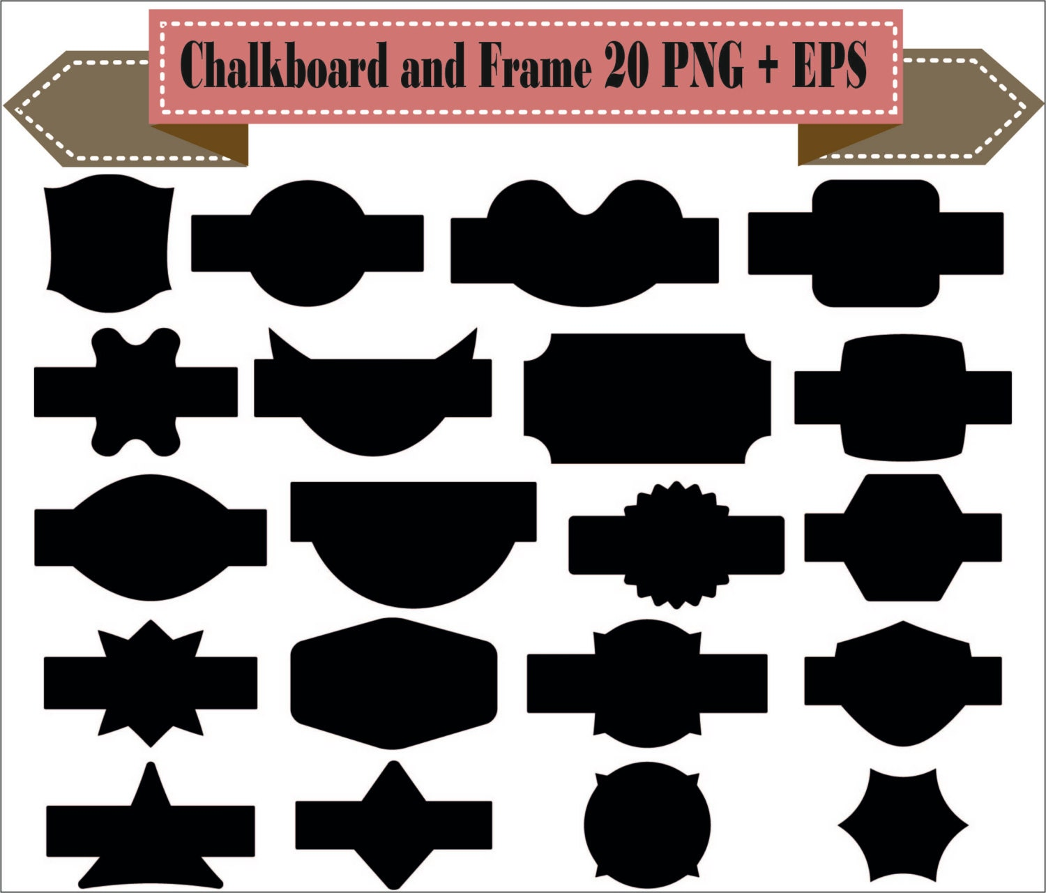 Chalkboard Frame Badges Vintage Label Motif Shapes Pack ...