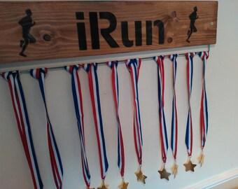 Oak Stained Medal Display Board Hanger Men's or Ladies Run Running Marathon