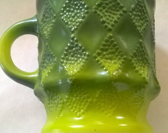 Vintage Green Quilted Milk Glass Coffee Mug--Fire King by Anchor and Hocking