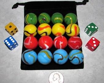 "Aggravation, Wahoo Four Player 1"" Rainbow (MF) Game Set + Free Medium Pouch"