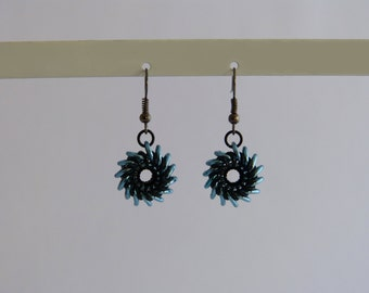 Whirly Bird earrings - various color combinations, Chainmaille
