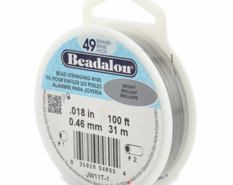 100ft - Beadalon 49 Strand .018 BRIGHT Stainless Steel Flex Beading Wire