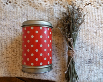 Vintage polka dot tin, vintage tin box, soviet tin container, dotted container, made in the USSR