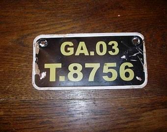 vintage rear number plate