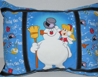 "New! 12"" x 16"" Frosty the Snowman Christmas Home Dec Pillow includes pillow insert"