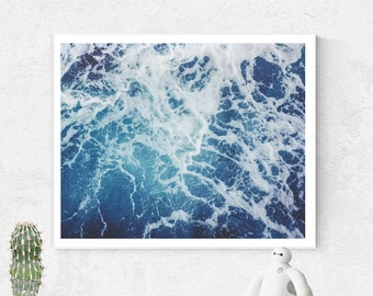 Beach Print, Ocean Waves print, Beach Wall Art, Blue Aqua Abstract, Ocean Water Print, Coastal Wall Art, Printable Art, Landscape print