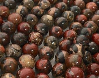 Poppy Jasper, 8mm Beads, 6mm Beads, Brecciated Jasper, Jasper Beads, Red Orange, Gemstone Beads, Beads for Jewelry Making, Multi Color Beads