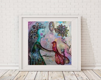 """large fine art print, """"Release"""", Figurative Painting, wall decor, acrylic painting, whimsical painting, woman, bird, abstract painting"""