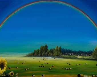 Rainbow over meadows