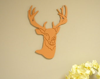 Rustic Wall Decor, Cabin Decor, Wood Deer head, Deer Wood Sign, Trophy Buck Head, Buck Head Wood Cut Out, Wall Hanging, Wood Sign