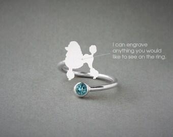 Adjustable Spiral POODLE BIRTHSTONE Ring / Poodle Birthstone Ring / Birthstone Ring / Dog Ring